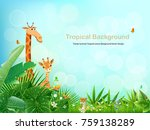 tropical an animal island... | Shutterstock .eps vector #759138289