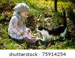 Stock photo funny girl plays with cat 75914254