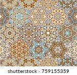 seamless hexagonal mosaic tiles ... | Shutterstock .eps vector #759155359
