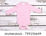 newborn girl pink stripes...   Shutterstock . vector #759156649