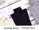 collection of new wool... | Shutterstock . vector #759157591