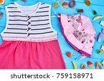 baby girl beautiful pink... | Shutterstock . vector #759158971