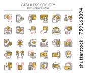 cashless society   thin line... | Shutterstock .eps vector #759163894