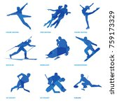 winter sports icon set. nine... | Shutterstock .eps vector #759173329