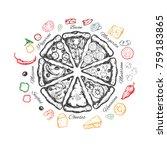 pizza slice emblem. vector hand ...   Shutterstock .eps vector #759183865