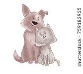 cute dog and cat cartoon couple ... | Shutterstock .eps vector #759183925