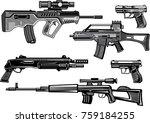 guns collection set of bullet.... | Shutterstock . vector #759184255