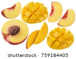 peach mango set isolated on... | Shutterstock . vector #759184405