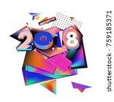 new year 2018. geometric...   Shutterstock .eps vector #759185371