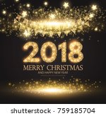 happy new 2018 year  gold... | Shutterstock .eps vector #759185704