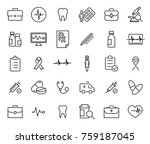 simple collection of medical... | Shutterstock .eps vector #759187045