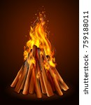 illustration of blazing bonfire ... | Shutterstock .eps vector #759188011
