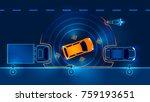 autonomous car leaves the... | Shutterstock . vector #759193651