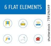 flat icons casement  bathroom ...   Shutterstock .eps vector #759196549