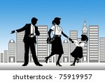 silhouettes of all family... | Shutterstock . vector #75919957