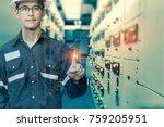 double exposure of  engineer or ... | Shutterstock . vector #759205951