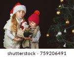 children decorate the christmas ...   Shutterstock . vector #759206491