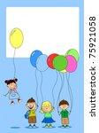 children hold balloons ... | Shutterstock .eps vector #75921058