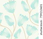 floral seamless pattern. hand... | Shutterstock .eps vector #759213601