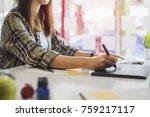 young asian female designer... | Shutterstock . vector #759217117