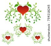 set of color heart and leaf... | Shutterstock .eps vector #759218245