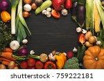 frame of fresh organic... | Shutterstock . vector #759222181