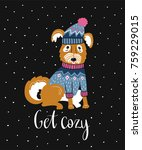 vector winter card with cute... | Shutterstock .eps vector #759229015