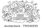 line art design of cute... | Shutterstock .eps vector #759240535