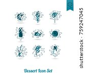 dessert icons in simple ... | Shutterstock .eps vector #759247045