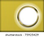 Gold striped wallpaper with bright framed porthole - stock photo