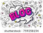 concept of blogging. pink blog... | Shutterstock .eps vector #759258154