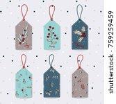 set of merry christmas gift... | Shutterstock .eps vector #759259459