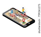 isometric location. mobile geo... | Shutterstock .eps vector #759261271