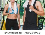sport man and woman with towel... | Shutterstock . vector #759264919