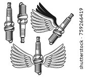 spark plug with angelic wings... | Shutterstock .eps vector #759266419