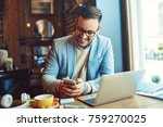 businessman enjoying coffee and ... | Shutterstock . vector #759270025