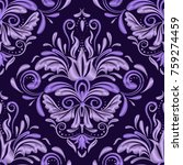seamless embroidery pattern.... | Shutterstock .eps vector #759274459