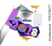 new year 2018. geometric... | Shutterstock .eps vector #759278077