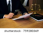 male lawyer reading legal... | Shutterstock . vector #759280369