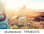 girl's legs in a retro car  at... | Shutterstock . vector #759281371