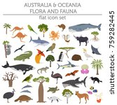 australia and oceania flora and ... | Shutterstock .eps vector #759282445