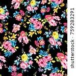 watercolor flower pattern...   Shutterstock . vector #759283291