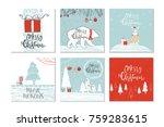 set of 6 cute christmas gift... | Shutterstock .eps vector #759283615