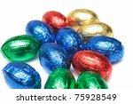 chocolate easter eggs isolated on white background - stock photo