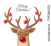 merry christmas card. funny red ... | Shutterstock .eps vector #759286321
