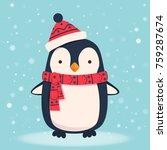 penguin cartoon illustration.... | Shutterstock .eps vector #759287674