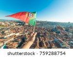 hand holding portuguese flag on ... | Shutterstock . vector #759288754