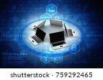 3d rendering computer network | Shutterstock . vector #759292465