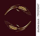 gold ripe wheat rye ears on... | Shutterstock .eps vector #759293347