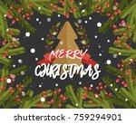 christmas background in retro... | Shutterstock .eps vector #759294901